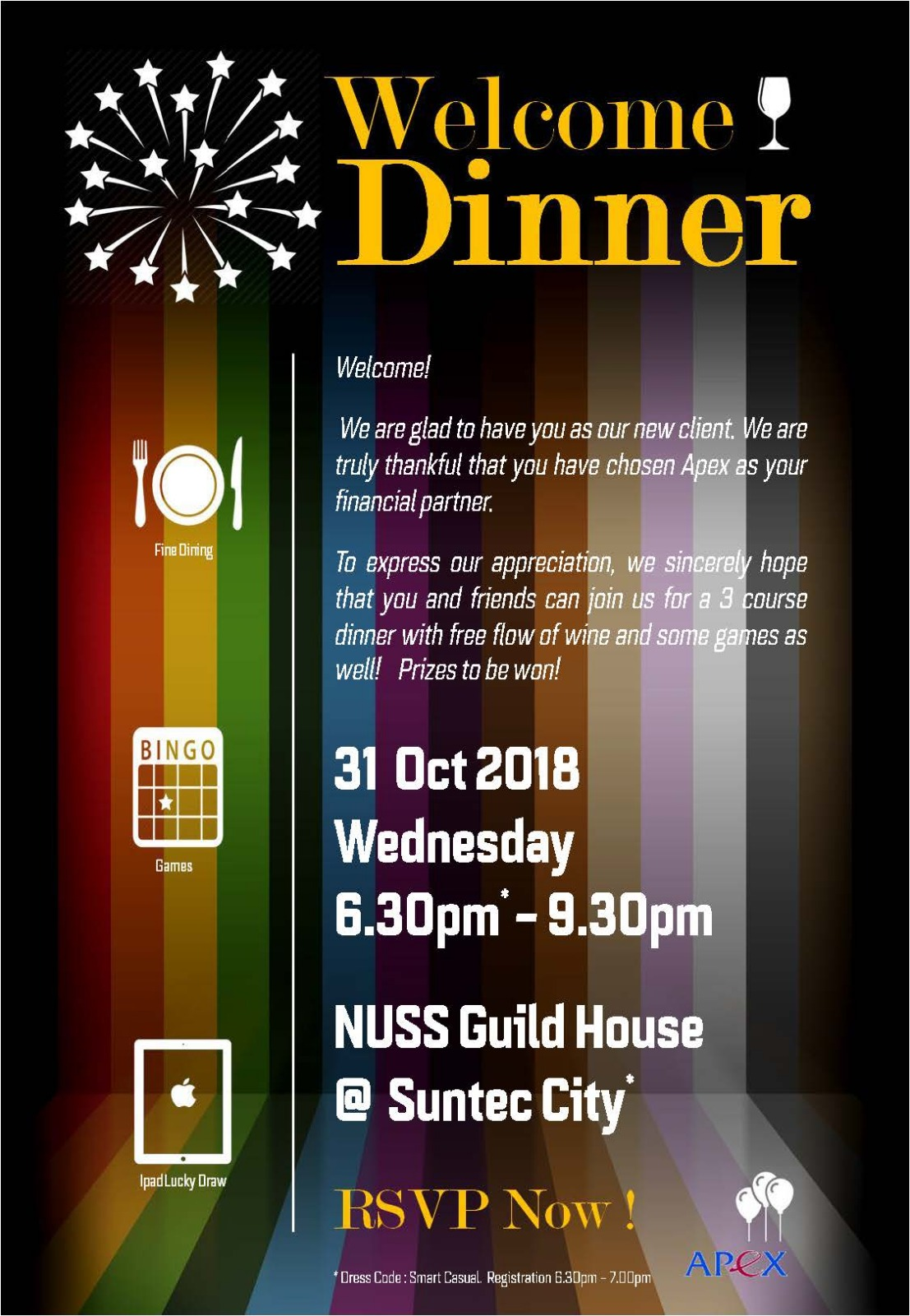 Welcome Dinner 2018 Oct 31 Apex Wealth Management